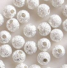 Silver Plated Beads 6mm Stardust Round - 20